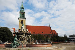 Marienkirche and Neptunbrunnen Royalty Free Stock Photo