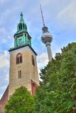 Marienkirche and T.V tower - HDR Royalty Free Stock Image