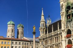 Marienkirche and Townhall Square in Munich, Germany Royalty Free Stock Photo