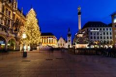 Marienplatz在夜间,慕尼黑 免版税库存图片