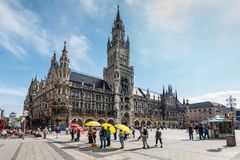 Marienplatz广场在慕尼黑,巴伐利亚,德国 库存照片