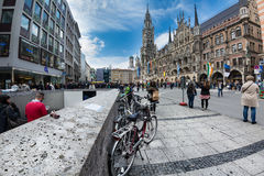 Marienplatz广场在慕尼黑,德国 库存照片