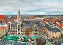 Marienplatz鸟瞰图在慕尼黑 免版税库存图片