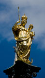 Marienplatz. Image placed on the top of a column in the center of the Marienplatz in Munich Royalty Free Stock Images