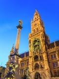 Marienplatz av den Munich Tyskland Arkivfoton