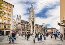 Marienplatz cuadrado famoso, Munich Imagen de archivo libre de regalías