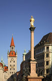 Marienplatz fyrkant i Munich germany Arkivbilder