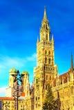 Marienplatz i choinka w Monachium, Niemcy Obraz Stock