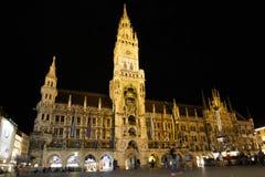 Marienplatz Monachium przy nocą Fotografia Royalty Free