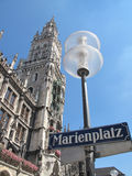 Marienplatz in Munich. Marienplatz, Munich downtown, Germany in the daylight stock photography
