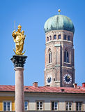 Marienplatz - munich. Marienstatue and liebfrauendom at the famous marienplatz in munich - germany stock photography