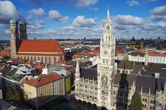 Marienplatz Munich. The famous square in Munich, Marienplatz, seen from the bell tower of St Peter´s church Royalty Free Stock Photos
