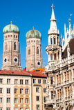 Marienplatz Munich. View of the townhall building and gotic cathedral from Marienplatz - Munich Germany (02/2008 Royalty Free Stock Image