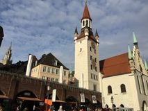 Marienplatz, Munich, Germany. Downtown Munich at Christmas. Picture taken in 2015 Royalty Free Stock Photos