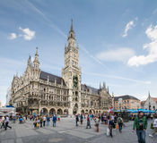 Marienplatz Munich. MUNICH, GERMANY - JUNE 4: Tourists at the Marienplatz in Munich, Germany on June 4, 2014. Munich is the biggest city of Bavaria  with almost Stock Image