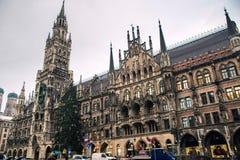 Marienplatz munich germany. Marienplatz main square of Munich germany, cloudy day Royalty Free Stock Photo