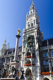 Marienplatz in Munich. The new city hall and the Virgin Mary column at the Marienplatz in Munich stock images