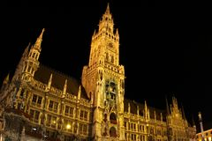 Marienplatz in Munich in the night. Tha main square of Munich Marienplatz in the night Stock Image