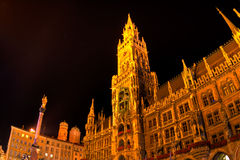 Marienplatz in Munich in the night. Tha main square of Munich Marienplatz in the night Stock Images