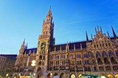 Marienplatz - Munich. The night scene of town hall at the Marienplatz in Munich, Germany royalty free stock photo
