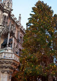 The Marienplatz in Munich with tree christmas Royalty Free Stock Images