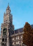 The Marienplatz in Munich with tree christmas Royalty Free Stock Photos
