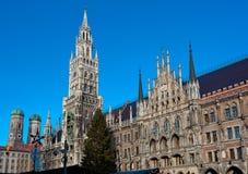 The Marienplatz in Munich with tree christmas Stock Photo