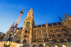 Marienplatz Munich, Tyskland Arkivfoton
