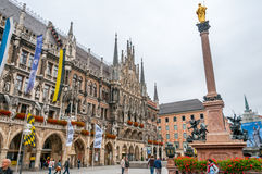 Marienplatz in Munich. Marienplatz with Virgin Mary Statue in Munich royalty free stock photo