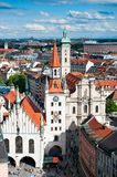 Marienplatz and Old Town Hall in Munich. Marienplatz and Old Town Hall, aerial view from the New Town Hall tower, Munich, Germany stock photography