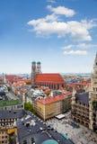 Marienplatz. Panorama of Marienplatz, New Town Hall (Neues Rathaus), Glockenspiel, Frauenkirche in Munich Stock Photos