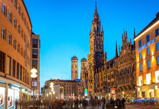 Marienplatz square in Munich City, Germany. Old Town Hall and Frauenkirche at night in Munich, Germany royalty free stock image