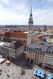 Marienplatz square in Munich, Germany (2). Marienplatz square in Munich (Munchen), Germany. View from New Town Hall (Neues  Rathhaus) on Sacred Peter's Church Stock Photography