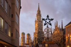 Marienplatz square in Munich. With New Town Hall Rathaus and The Frauenkirche church in frame Royalty Free Stock Photography