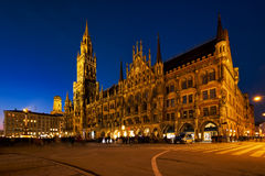 Marienplatz square at night with New Town Hall Neues Rathaus Stock Images