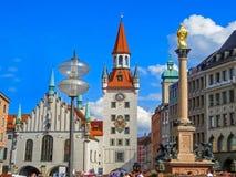 Marienplatz - Stary urząd miasta Obraz Stock