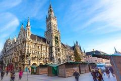 Marienplatz urząd miasta w Monachium, Niemcy Obrazy Royalty Free
