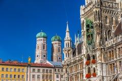 Marienplatz z Katedralnym Frauenkirche w Monachium, Niemcy obraz royalty free