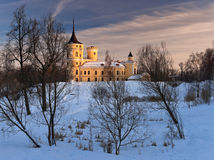 Mariental castle in winter. With earthworks under snow Stock Photography
