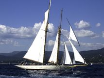 Mariette. Classic sailing yacht Mariette build in 1915 in a stiffening breeze Royalty Free Stock Photos
