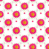 Marigold or clove pink. Seamless pattern with flowers. Hand-drawn background. Vector illustration. Stock Image