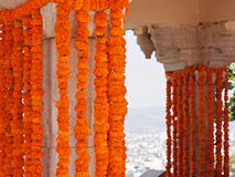 Marigold flower decorations at a Hindu celebration Stock Photo