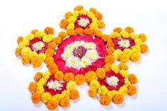 Marigold Flower rangoli Design for Diwali Festival , Indian Festival flower decoration.