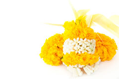 Marigold flowers garland for paying homage to place of worship Stock Image