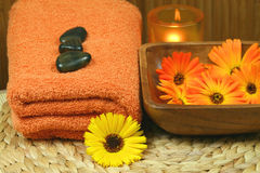 Marigold flowers in spa Royalty Free Stock Photo