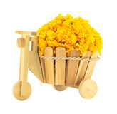 Marigold flowers in a wood basket Stock Photo