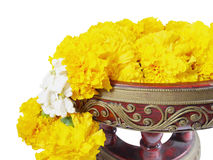 Marigold garland (with clipping path) Royalty Free Stock Photography