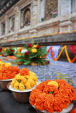 Marigold garland at Mahabodhi temple Bodhgaya India Stock Images