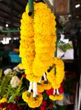 Marigold garland. Sold in the fresh market Royalty Free Stock Photography