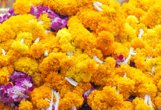 Marigold garlands. On Brahma shrine in Ratcha-Prasong Thailand with believe in God ( selective focus Stock Photo